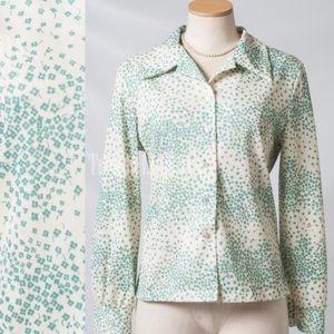 Vintage Top, 60s top,Vintage Mint green top - M